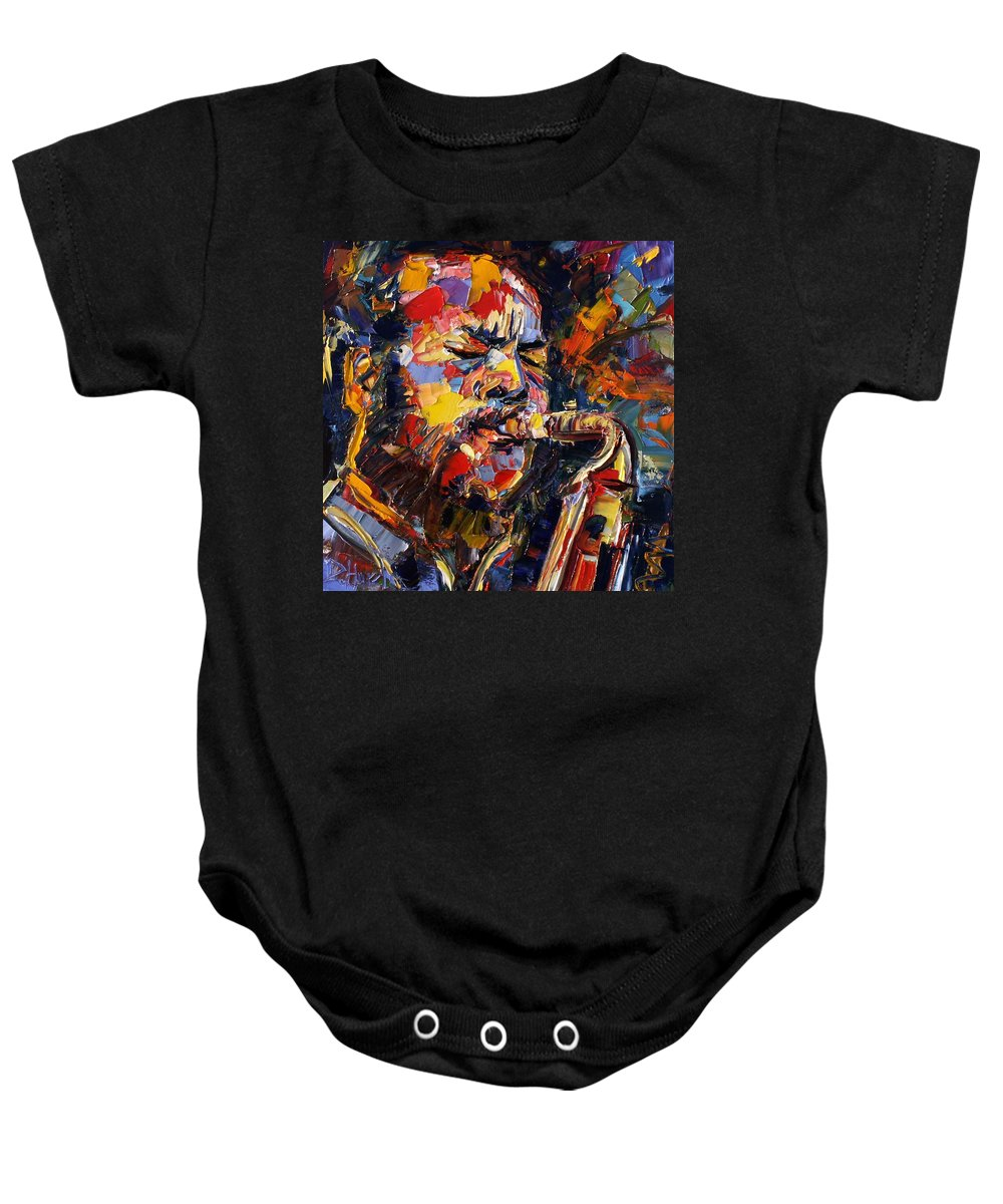Jazz Baby Onesie featuring the painting Ornette Coleman by Debra Hurd