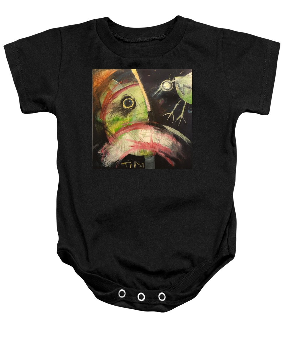 Bird Baby Onesie featuring the painting Ornithophobia by Tim Nyberg