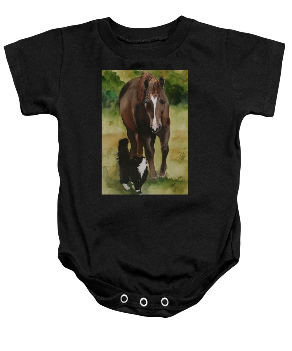 Horse Baby Onesie featuring the painting Oscar And Friend by Jean Blackmer