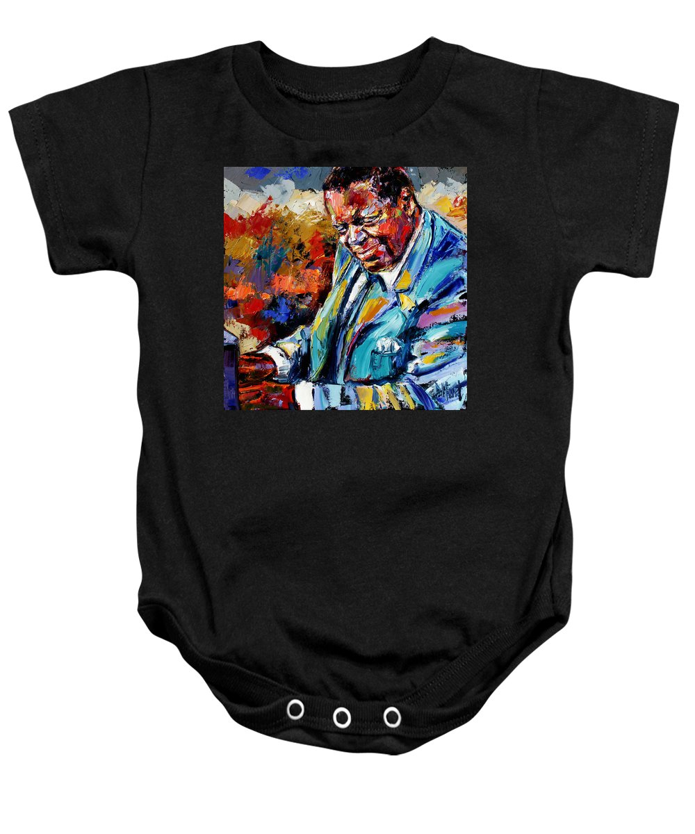Oscar Peterson Baby Onesie featuring the painting Oscar by Debra Hurd