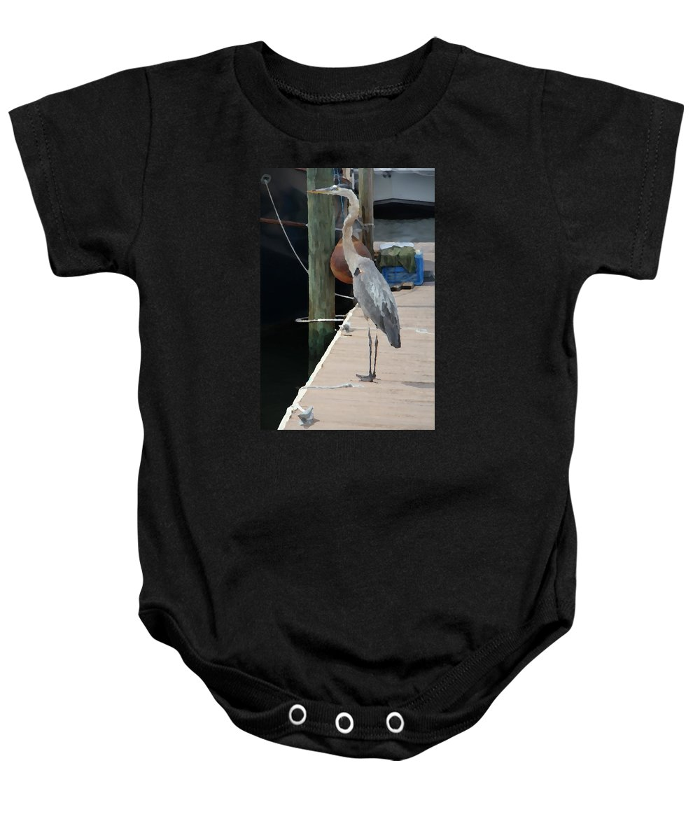 Dock Baby Onesie featuring the photograph Otis..dock Of The Bay by Danny Craig