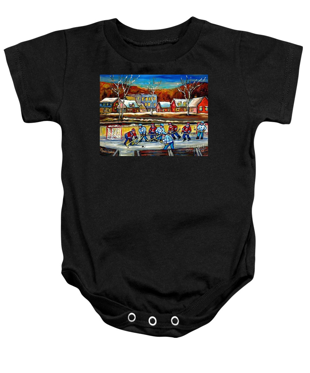 Country Hockey Rink Baby Onesie featuring the painting Outdoor Hockey Rink by Carole Spandau