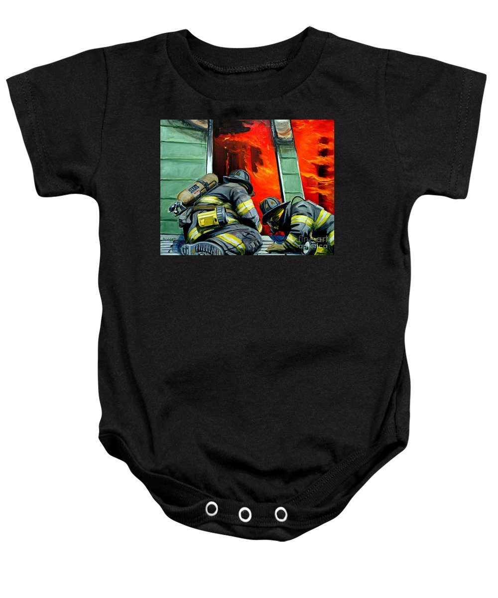 Firefighting Baby Onesie featuring the painting Outside Roof by Paul Walsh