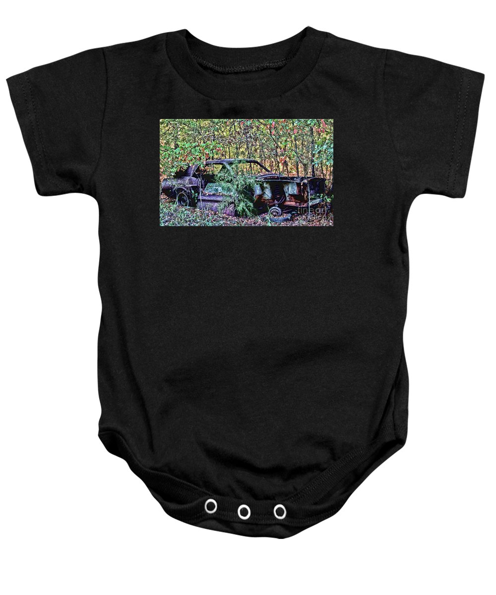 Ford Baby Onesie featuring the digital art Over Grown Pony by Tommy Anderson