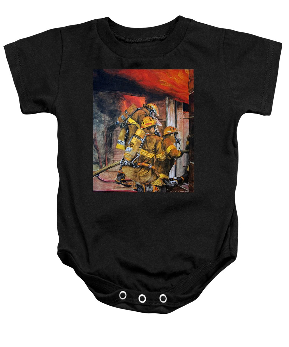 Fire Baby Onesie featuring the painting Over Head Heat by Paul Walsh