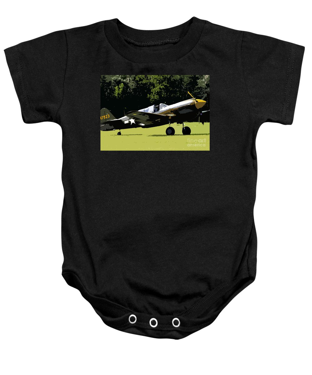P 40 Baby Onesie featuring the painting P40 Take Off by David Lee Thompson