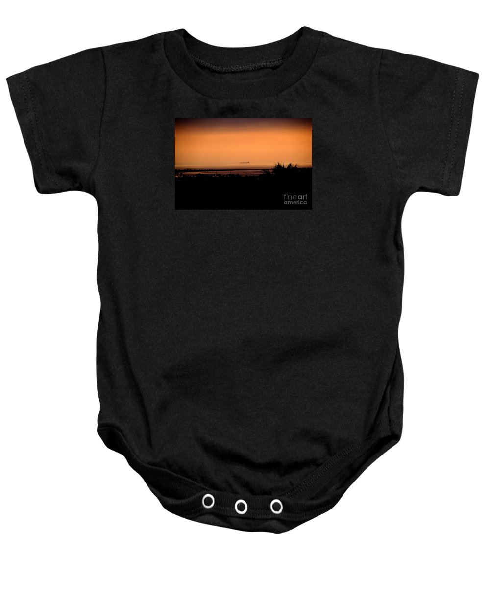 Barge Baby Onesie featuring the photograph Pacific Barge - 1 by Linda Shafer