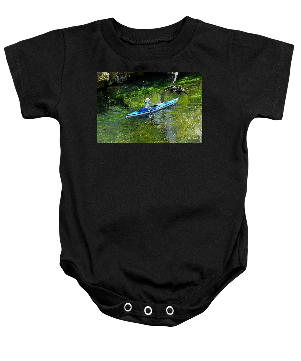 Ichetucknee Springs Baby Onesie featuring the photograph Paddling The Ichetucknee by David Lee Thompson