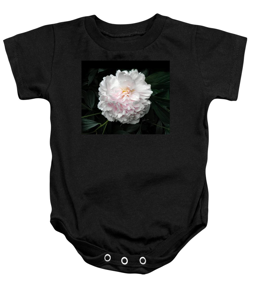 Peony Baby Onesie featuring the photograph Paeon by T Cook