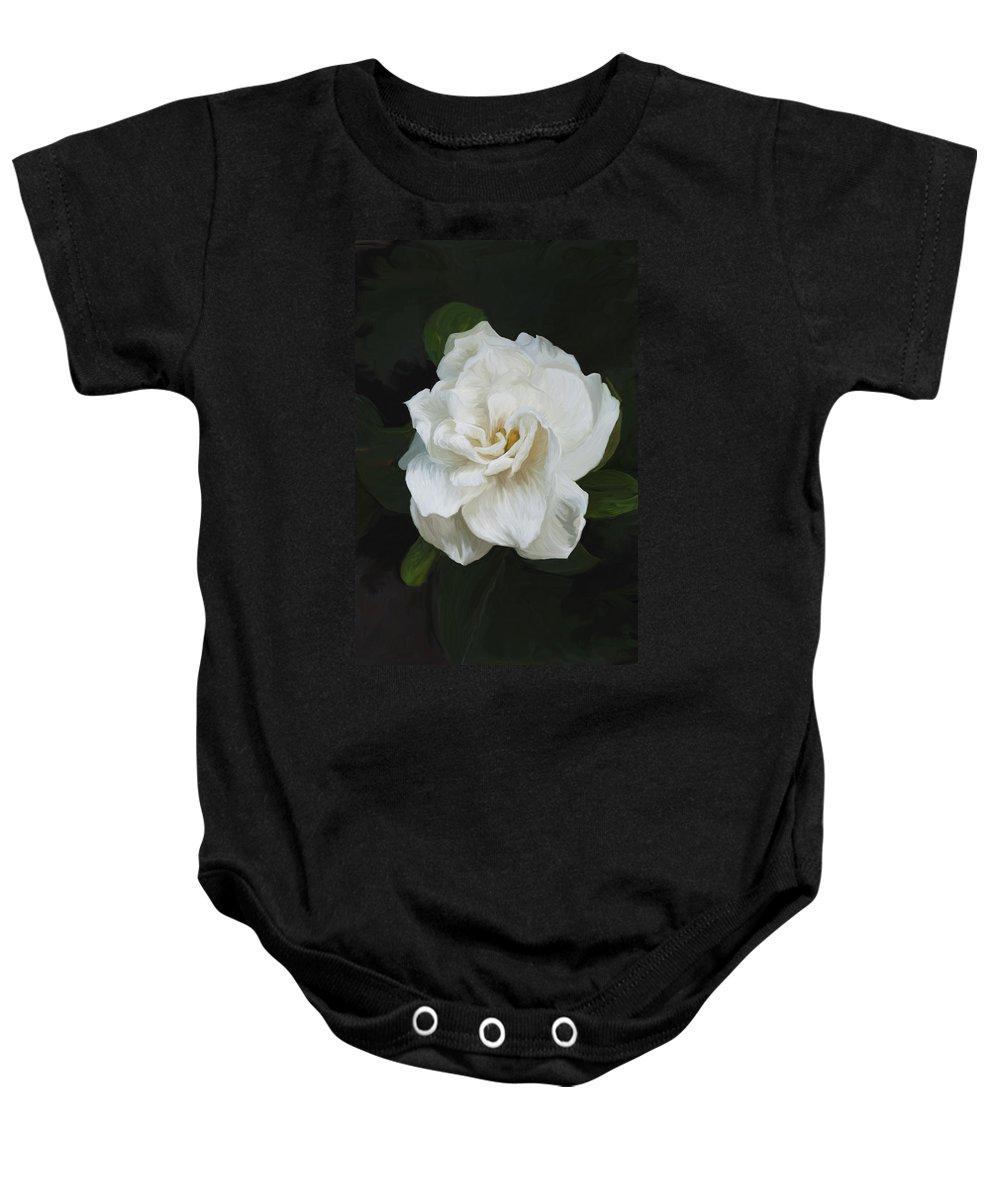 Gardenia Baby Onesie featuring the photograph Painted Gardenia by Phyllis Denton