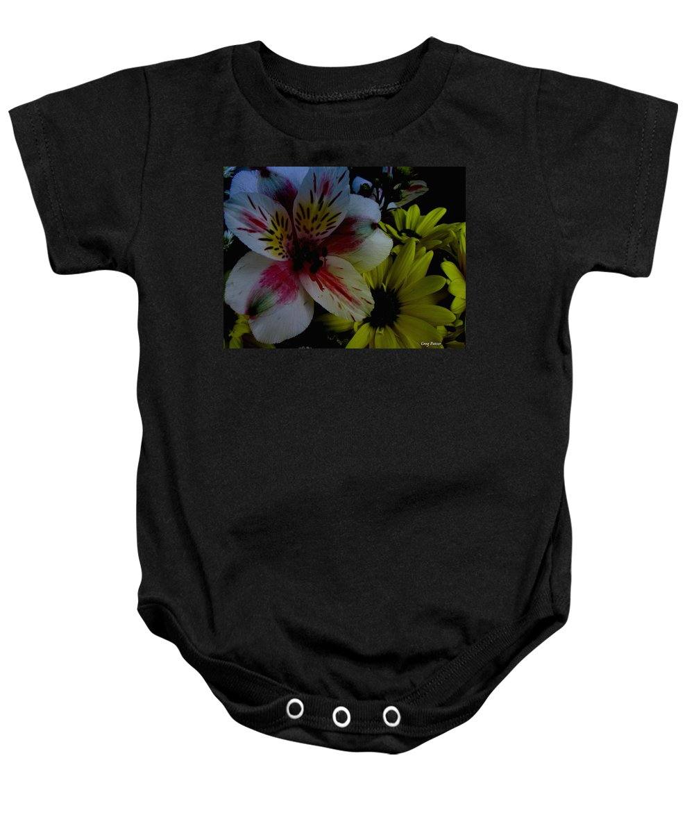 Art For The Wall...patzer Photography Baby Onesie featuring the photograph Painted Lily by Greg Patzer