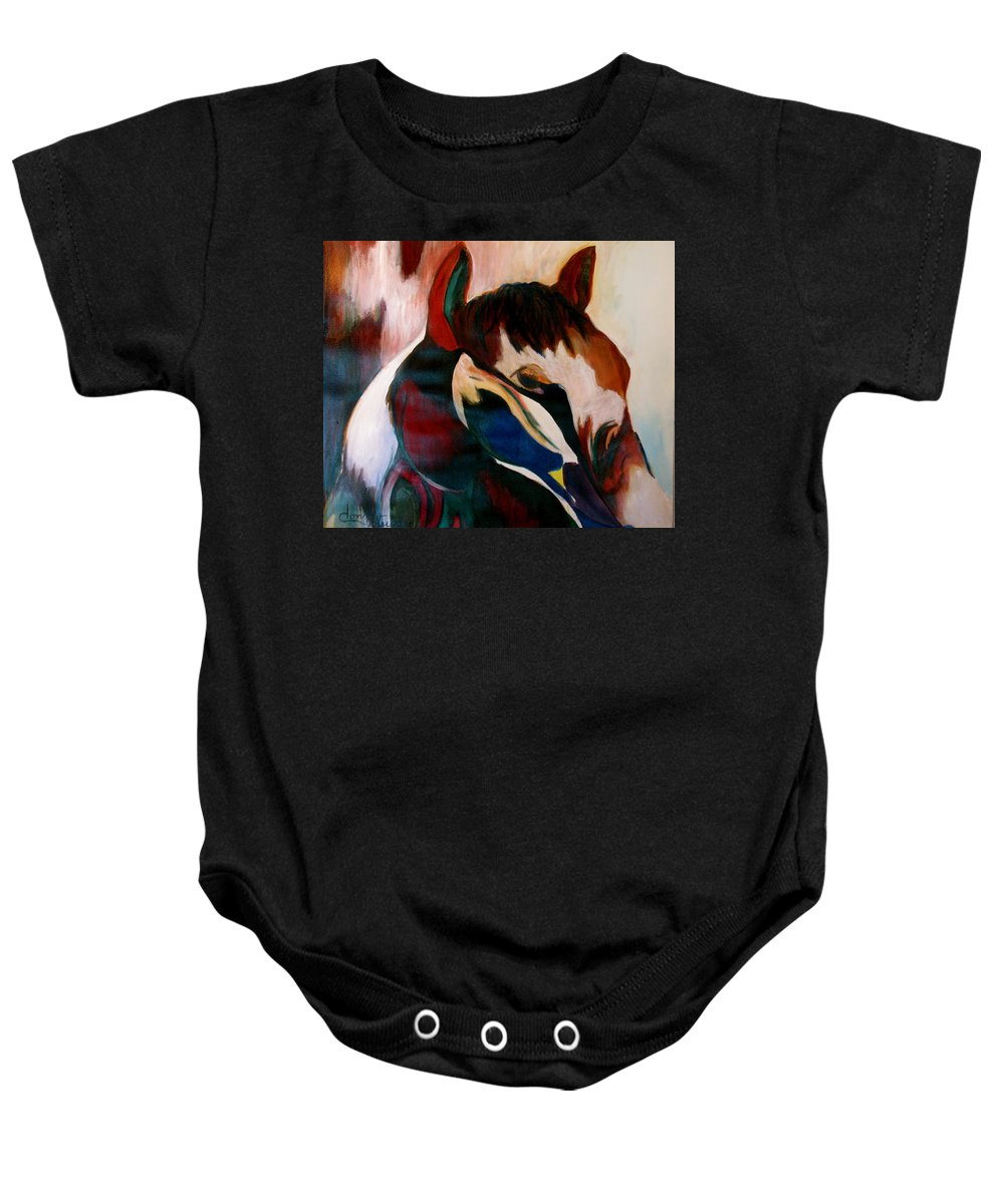 Colorful.pony Framed Prints Baby Onesie featuring the painting Painted Pony by Donna Steward