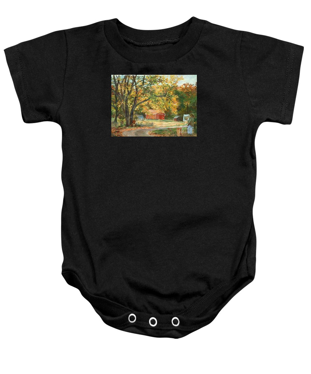 Painting Baby Onesie featuring the painting Painting The Fall Colors by Claire Gagnon