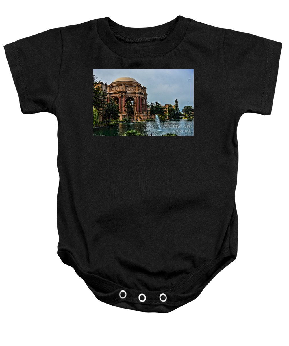 Palace Of Fine Arts Baby Onesie featuring the photograph Palace Of Fine Arts -1 by Tommy Anderson