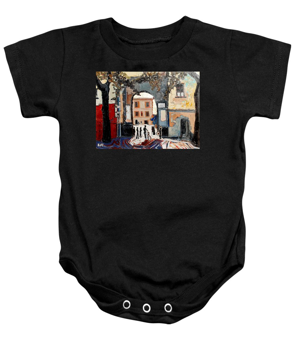 Tuscany Baby Onesie featuring the painting Palazzo Vecchio by Kurt Hausmann