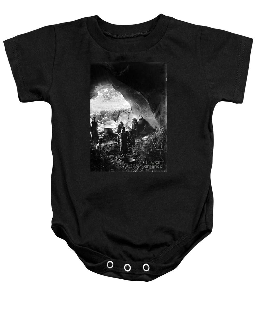 1910s Baby Onesie featuring the photograph Palestine: Cave Dwelling by Granger