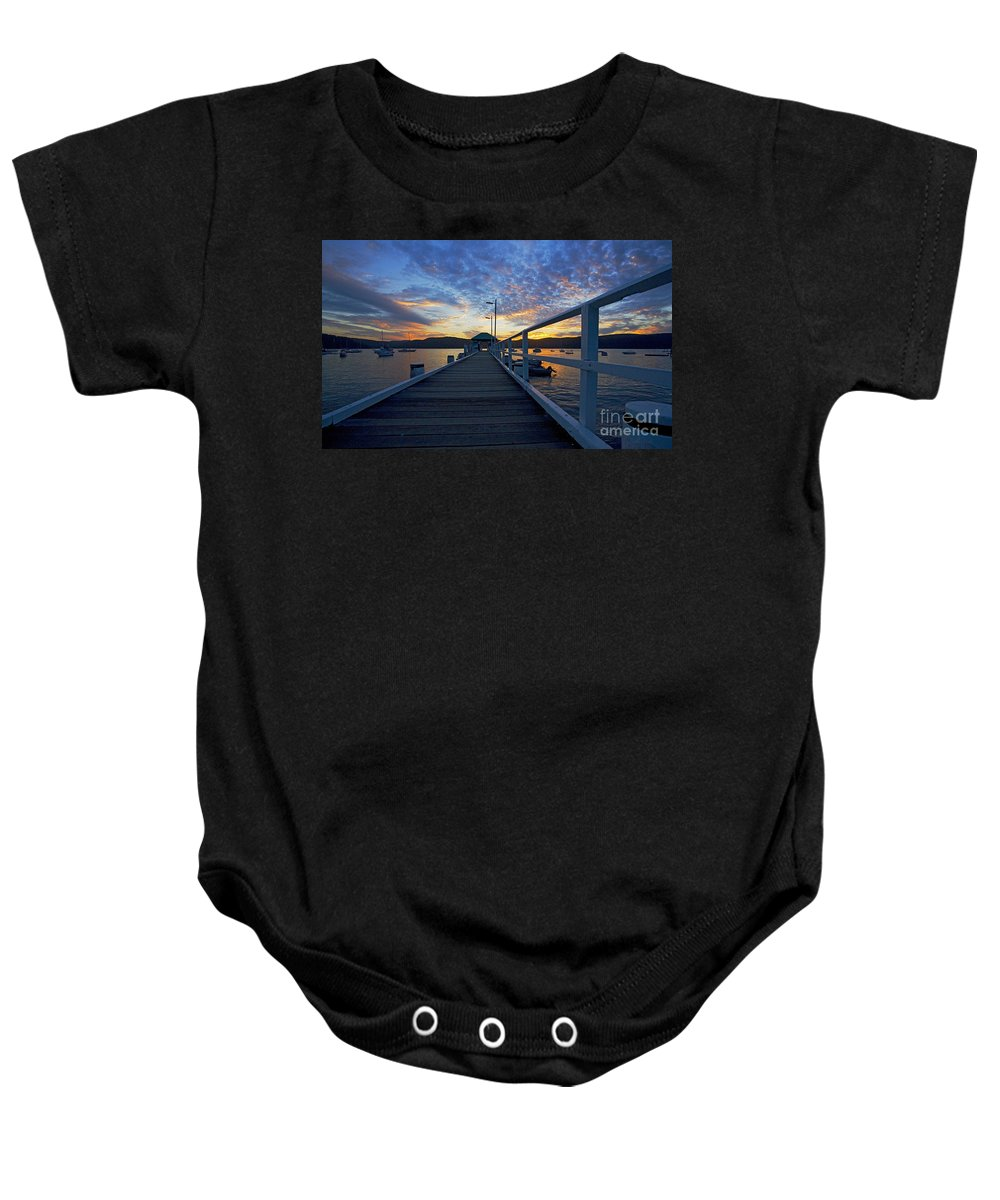 Palm Beach Sydney Wharf Sunset Dusk Water Pittwater Baby Onesie featuring the photograph Palm Beach Wharf At Dusk by Sheila Smart Fine Art Photography