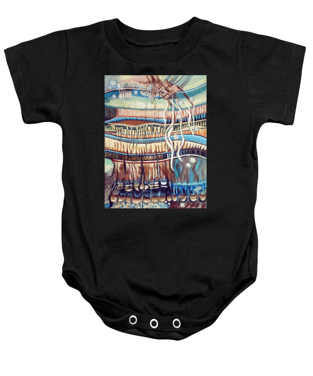 Abstract Baby Onesie featuring the painting Palm Contractions by Kerryn Madsen-Pietsch