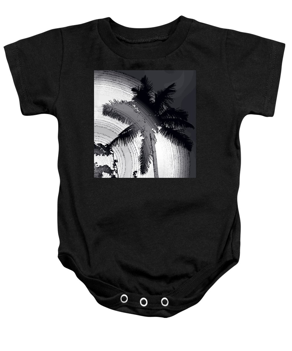 Palm Baby Onesie featuring the photograph Palm In Grey by Ian MacDonald
