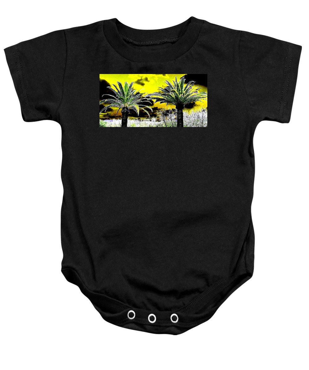 Palm Trees Baby Onesie featuring the digital art Palm Paradise  by Will Borden