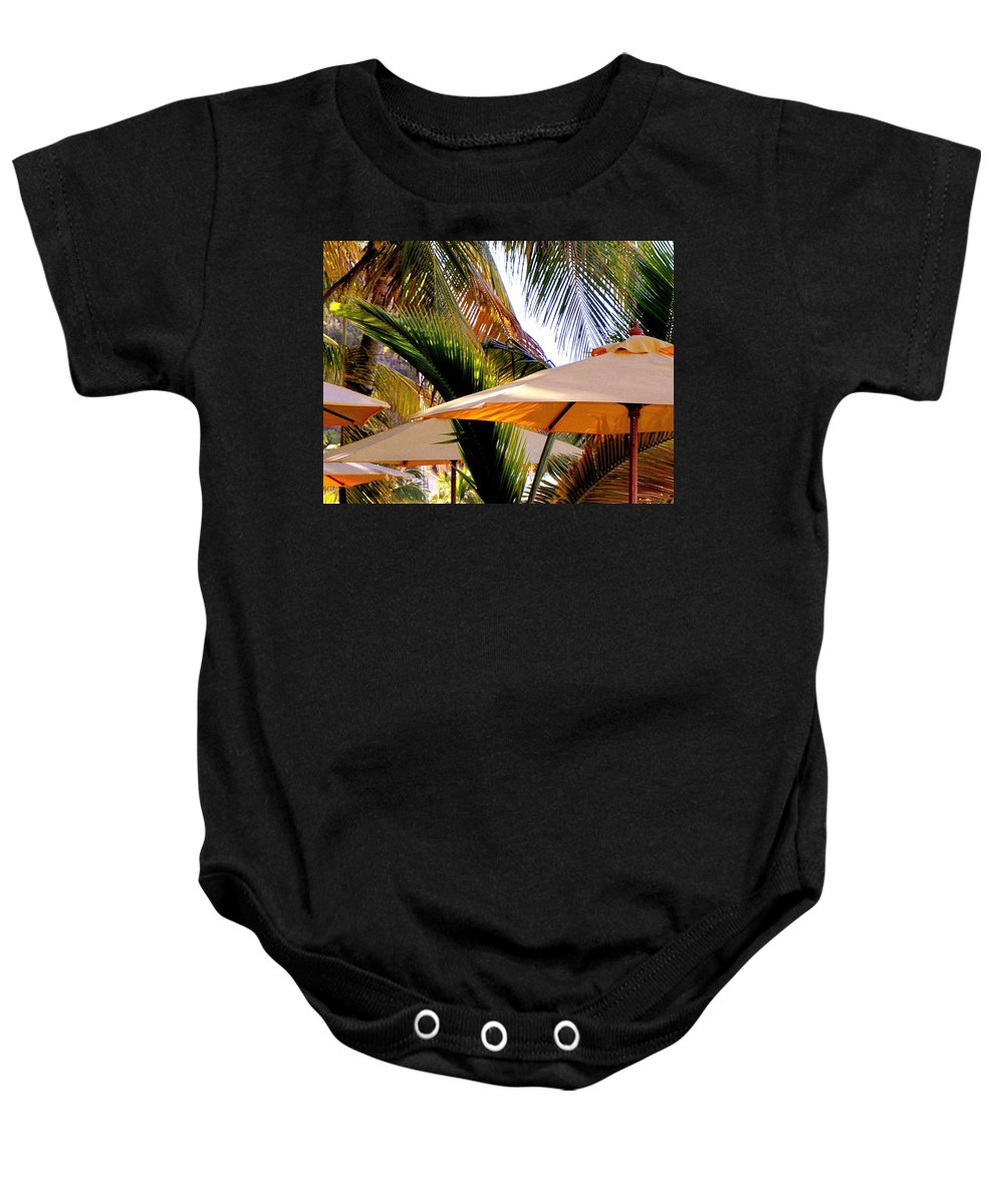Umbrellas Baby Onesie featuring the photograph Palm Serenity by Karen Wiles