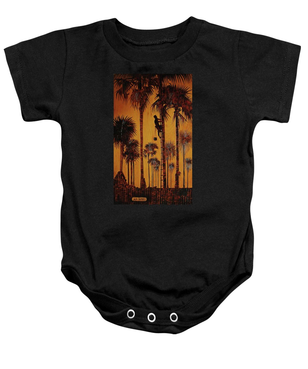 Wood Burning Baby Onesie featuring the drawing Palm Silhouette by Jack Harries