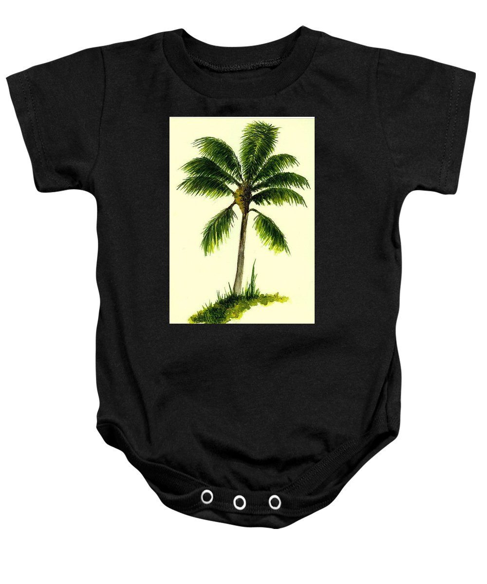 Tree Baby Onesie featuring the painting Palm Tree Number 1 by Michael Vigliotti