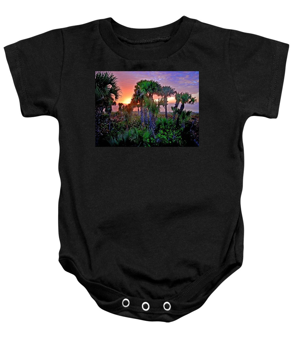 Palm Trees Baby Onesie featuring the painting Palm Tree Sunset by Michael Thomas