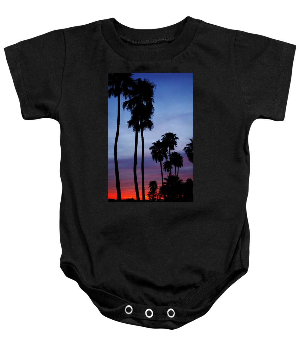 Palm Trees Baby Onesie featuring the photograph Palm Trees At Sunset by Jill Reger