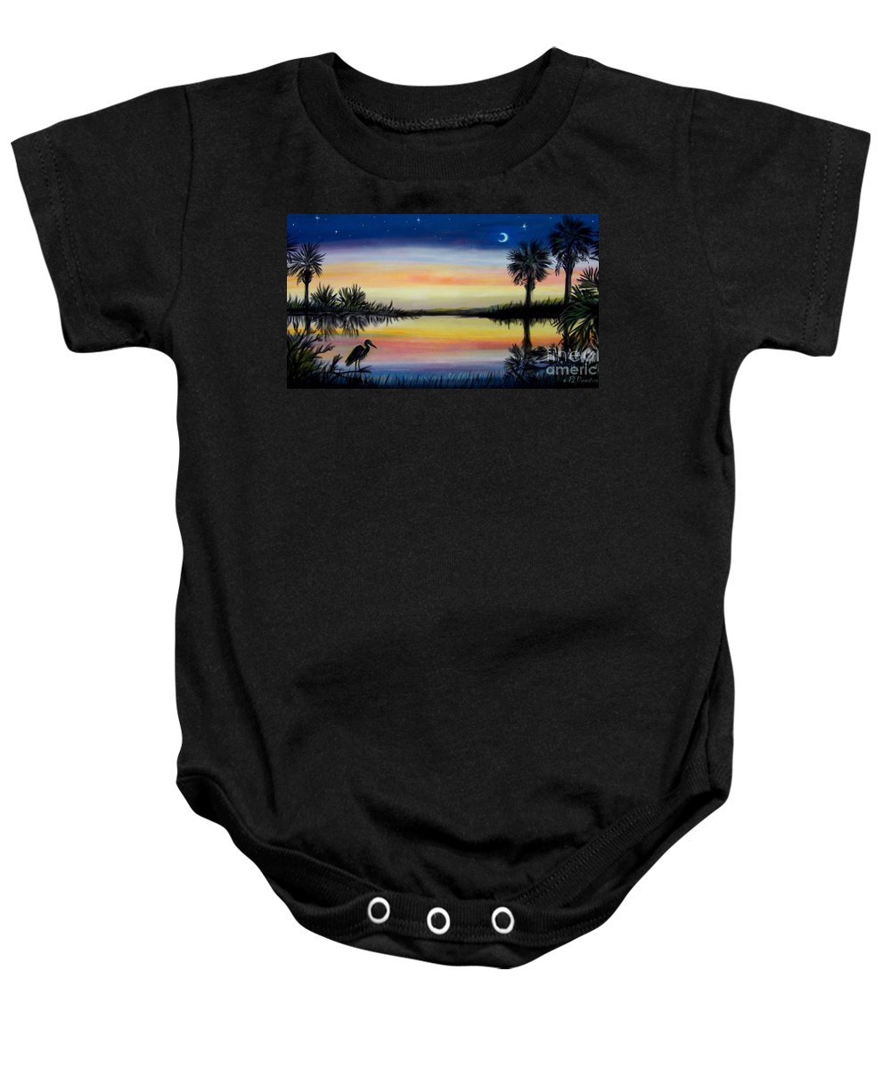 Palmetto Night Baby Onesie featuring the painting Palmetto Tree And Moon Low Country Sunset by Patricia L Davidson