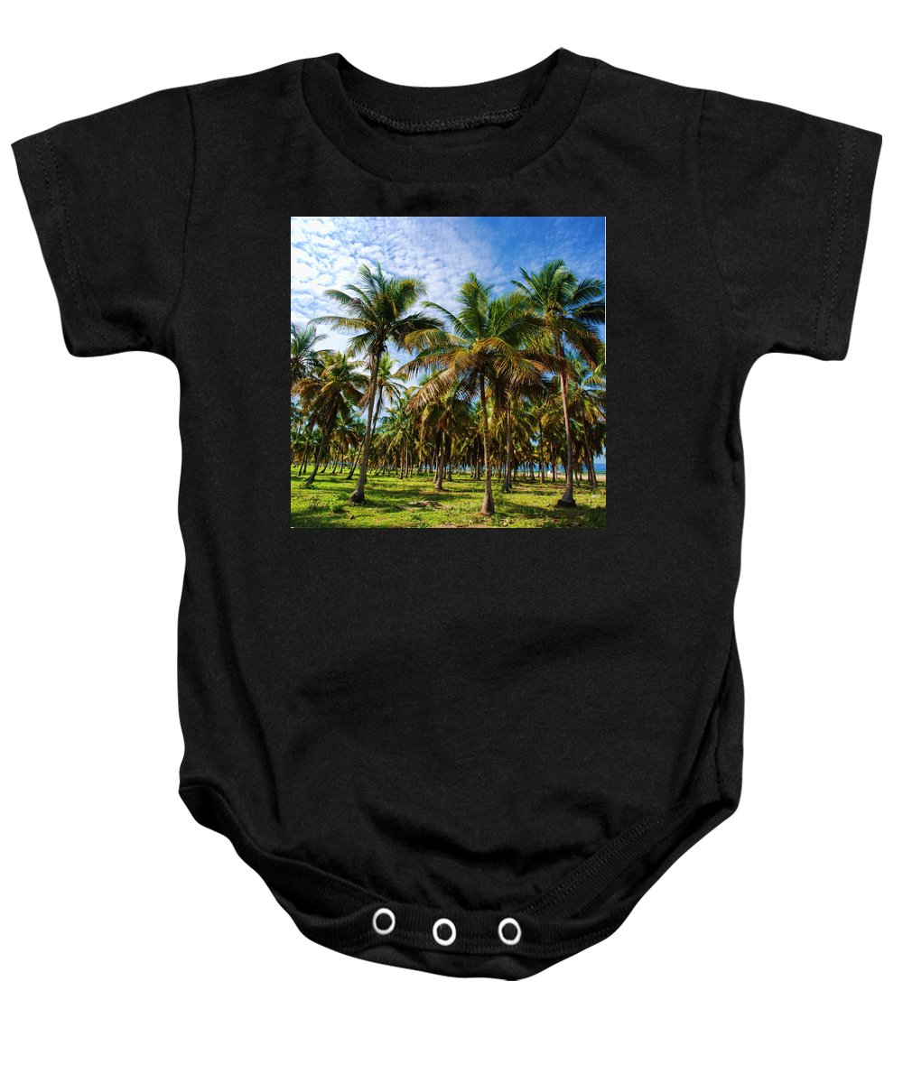 Palms Baby Onesie featuring the photograph Palms And Sky by Galeria Trompiz
