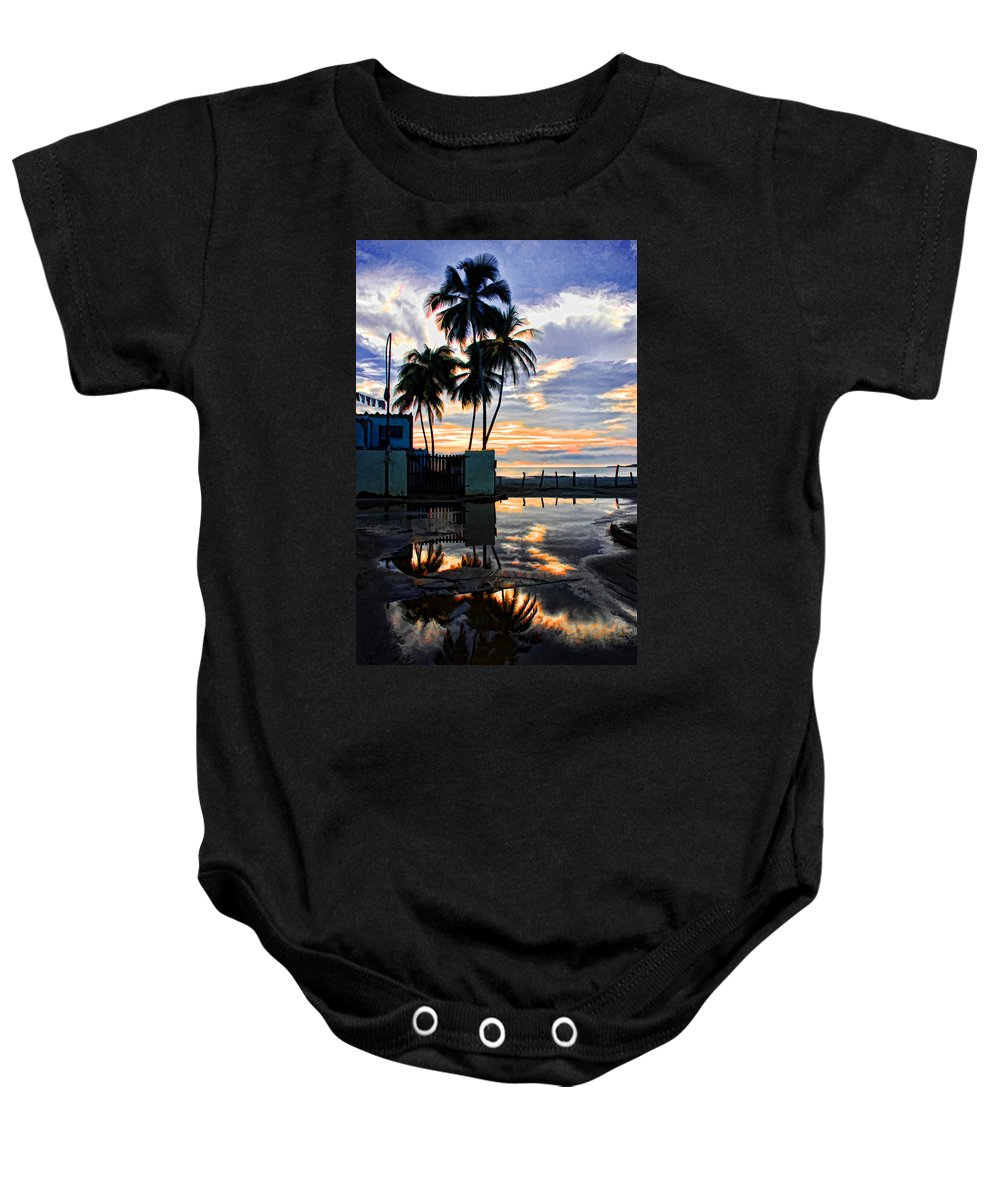 Palms Baby Onesie featuring the photograph Palms And Sunshine by Galeria Trompiz