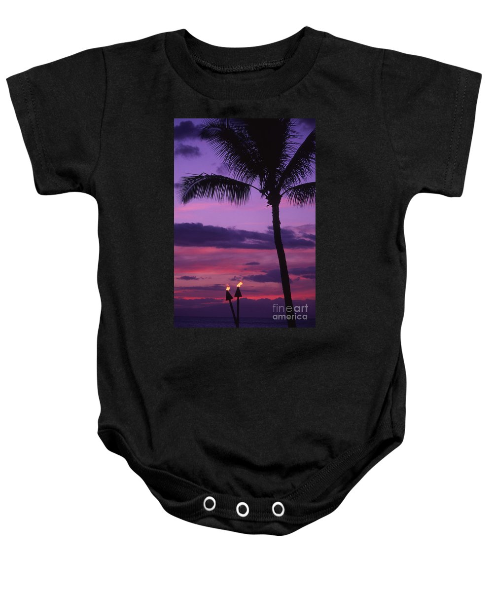 Bright Baby Onesie featuring the photograph Palms And Tiki Torches by Ron Dahlquist - Printscapes