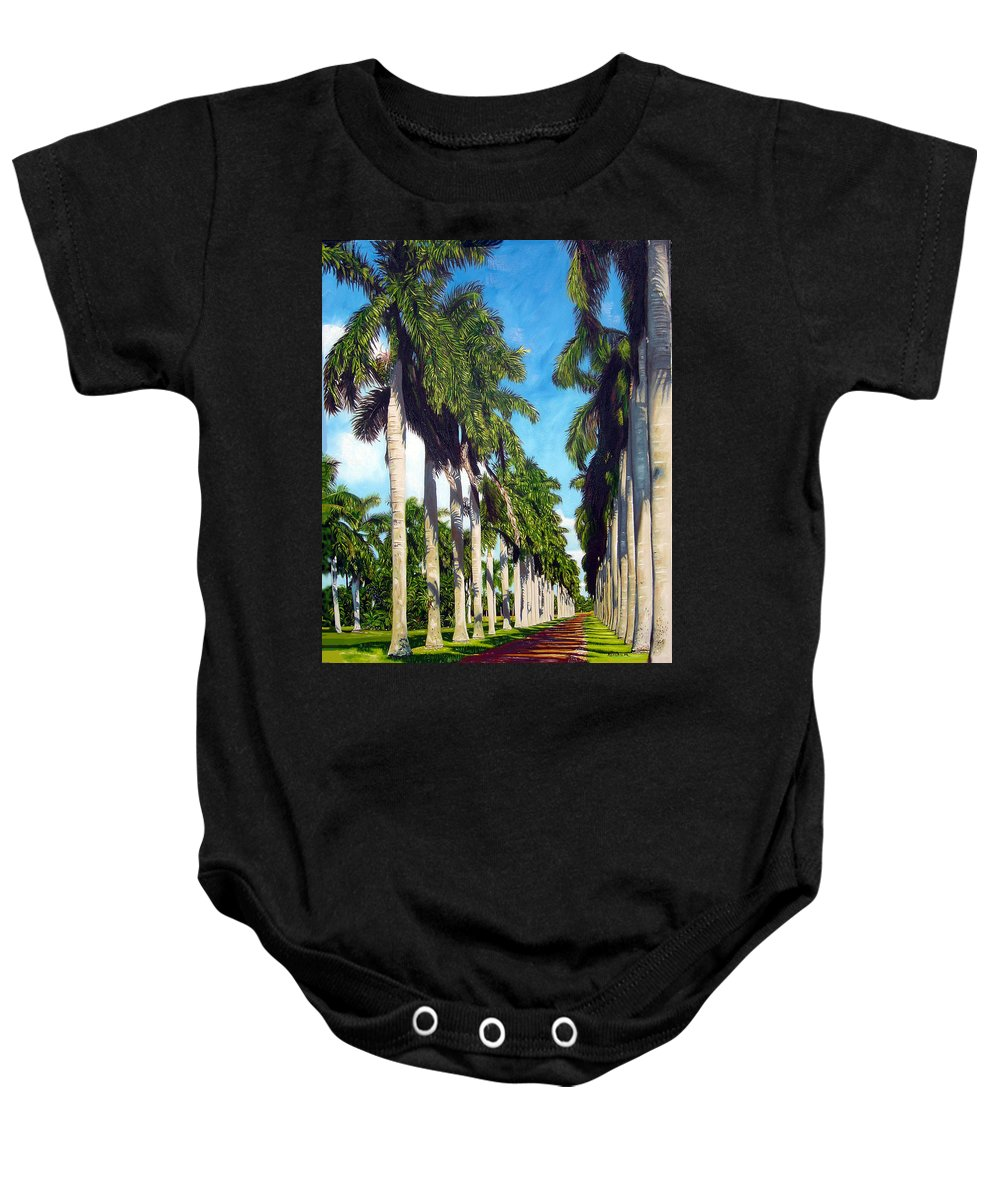 Palms Baby Onesie featuring the painting Palms by Jose Manuel Abraham