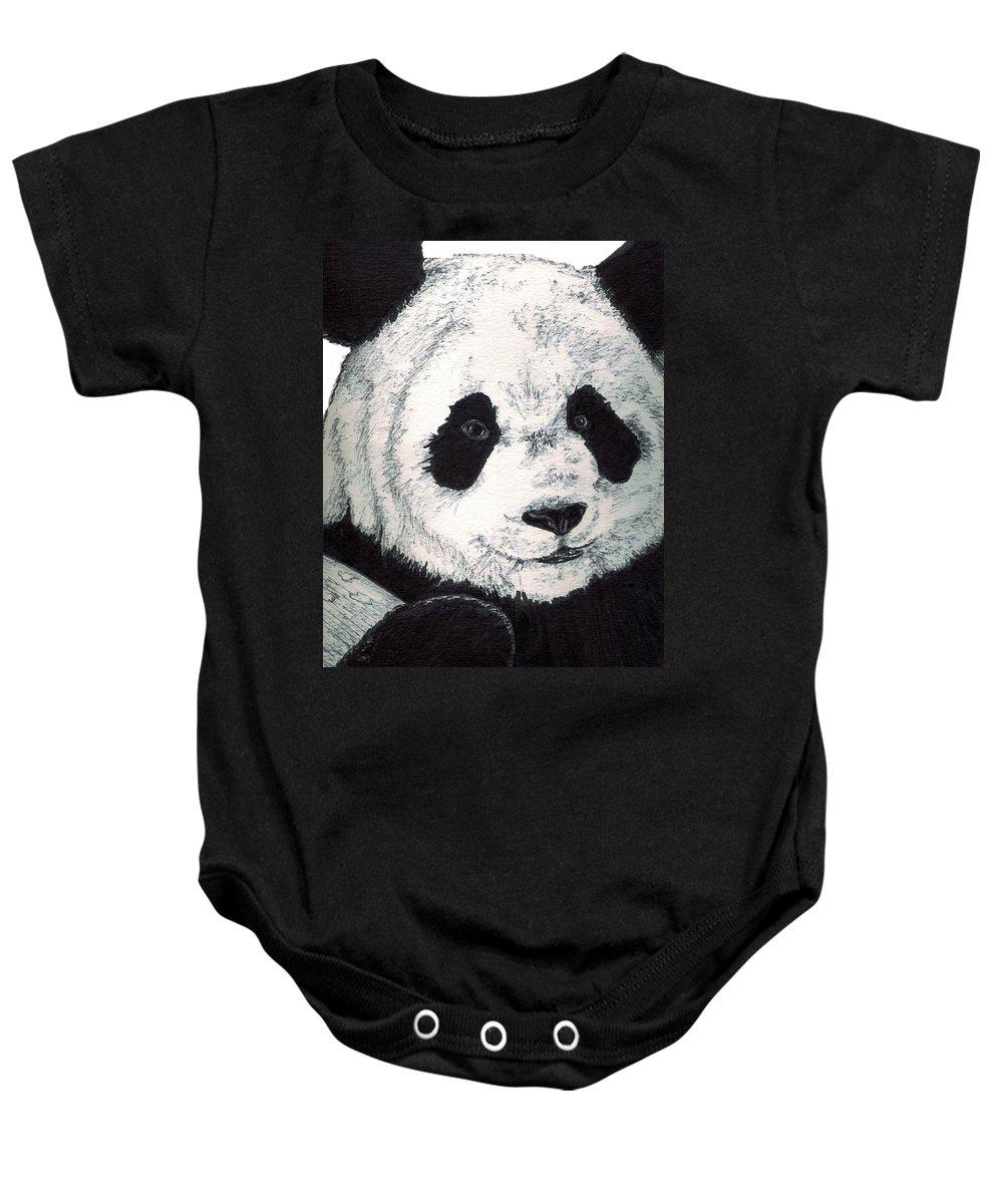 Panda Baby Onesie featuring the painting Panda by Debra Sandstrom