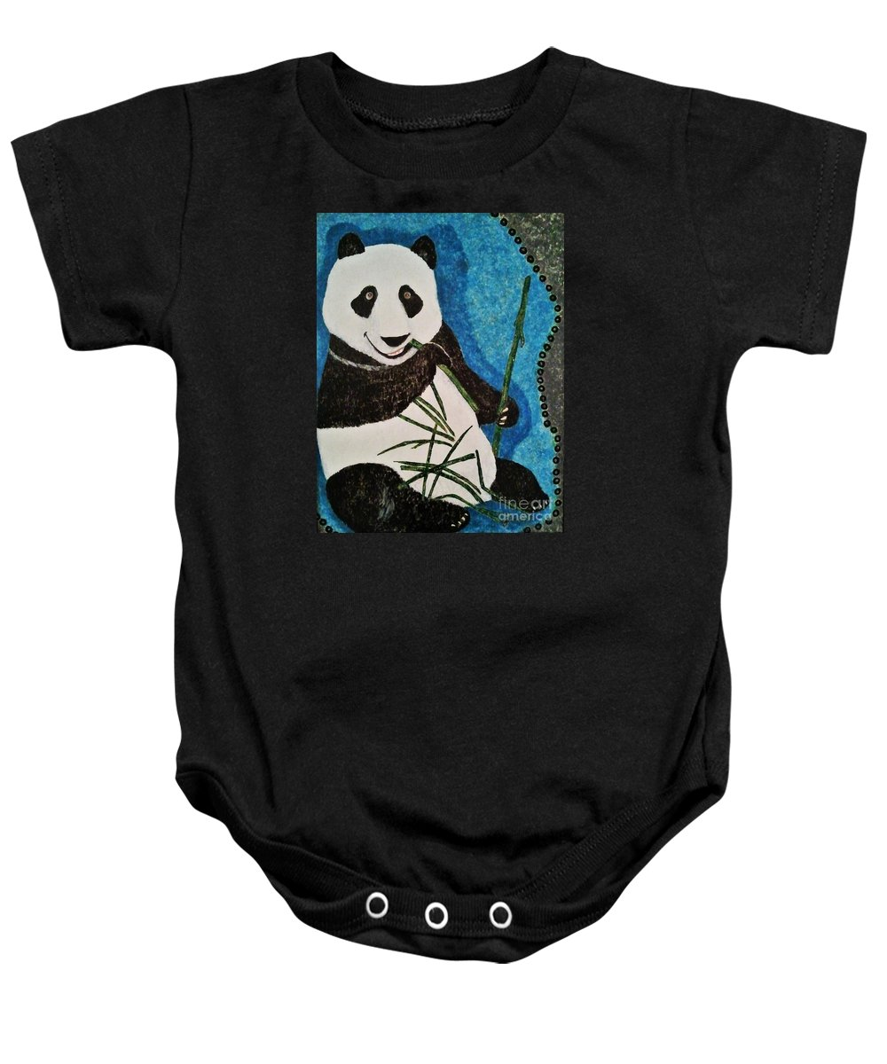 Panda Baby Onesie featuring the painting Panda by Jasna Gopic