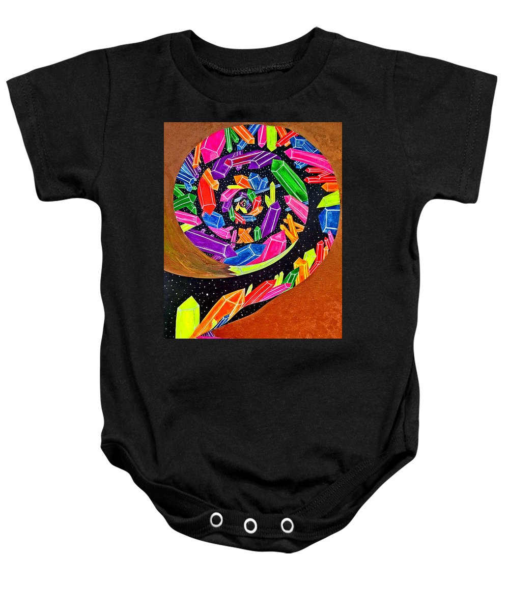 Spiral Baby Onesie featuring the painting Pangea Spiral by Siobhan Shene
