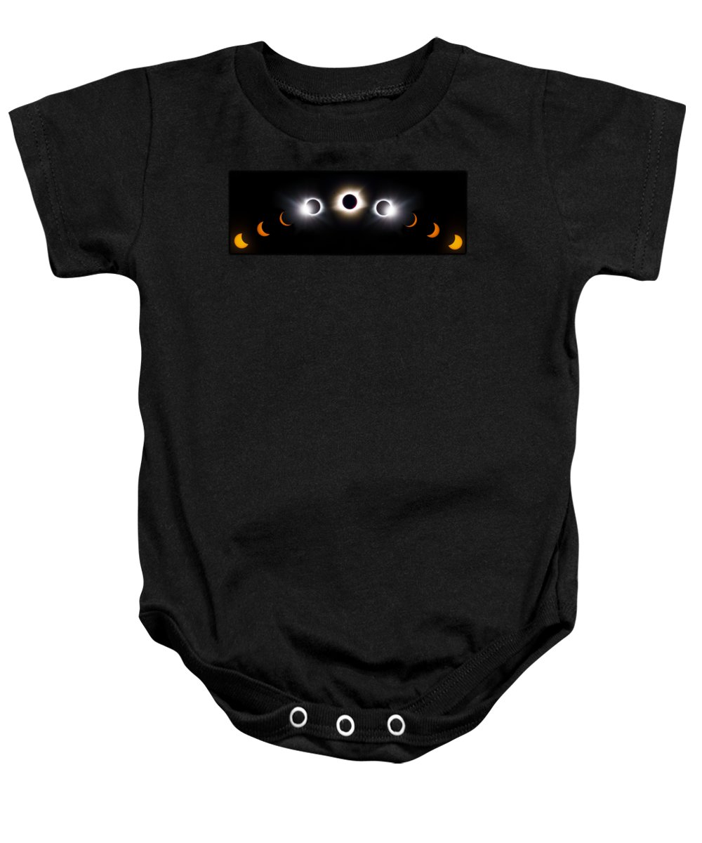 08 21 2017 Baby Onesie featuring the photograph Panorama Total Eclipse T Shirt Art Phases by Debra and Dave Vanderlaan
