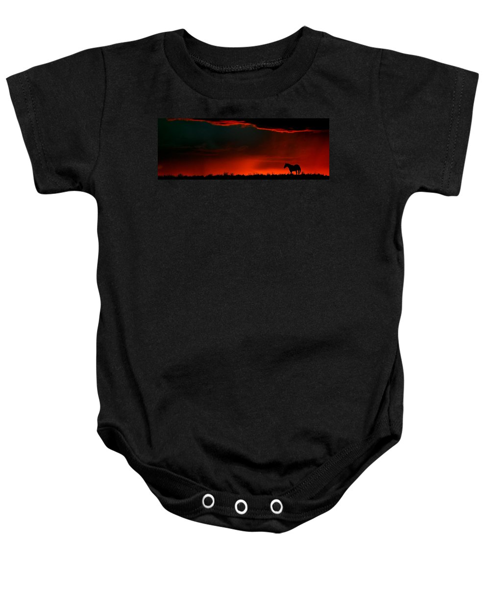 Baby Onesie featuring the digital art Panoramic Horse Sunset by Mark Duffy