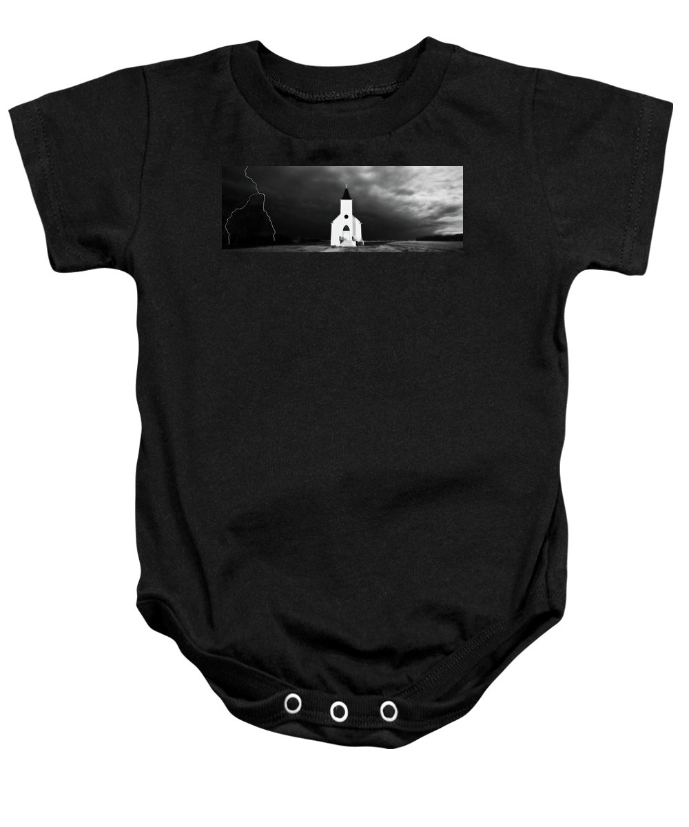 Baby Onesie featuring the digital art Panoramic Lightning Storm And Prairie Church 2 by Mark Duffy