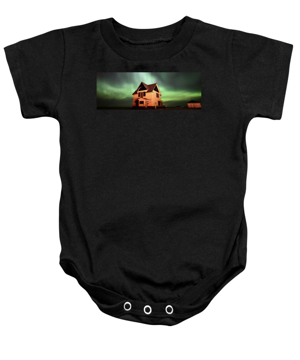 Baby Onesie featuring the photograph Panoramic Prairie Northern Lights And House by Mark Duffy