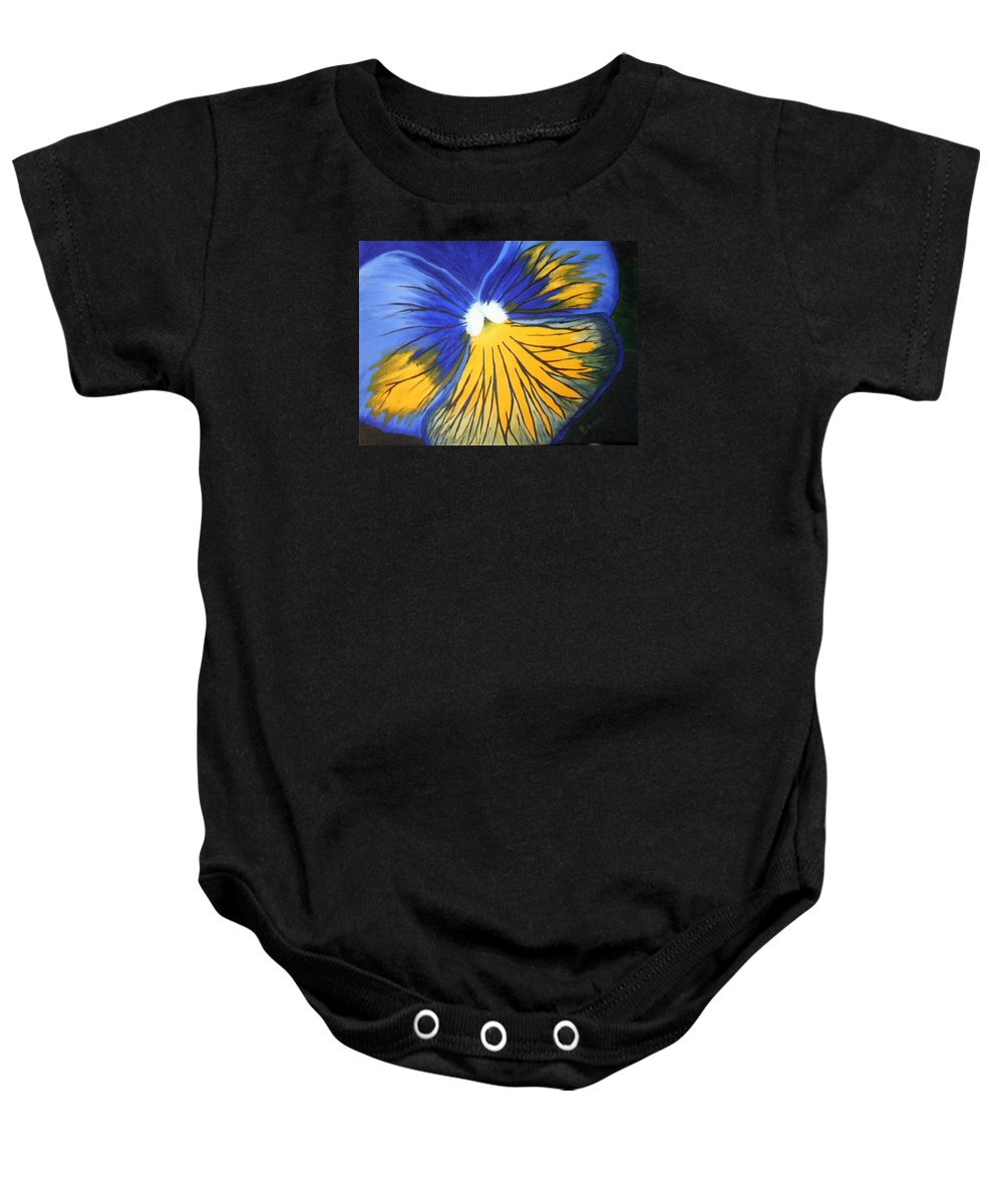 Pansy Baby Onesie featuring the painting Pansy Face by Brandy House