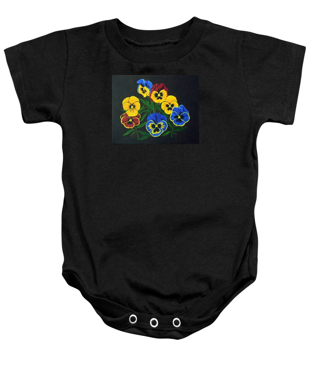 Pansies Baby Onesie featuring the painting Pansy Lions by Brandy House