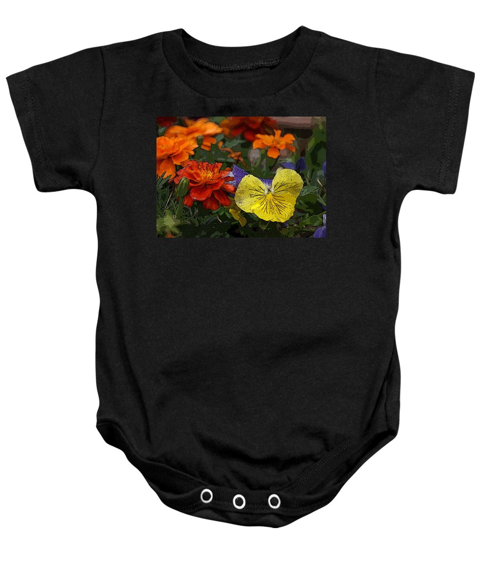 Pansy Baby Onesie featuring the photograph Pansy Play by Heather Coen