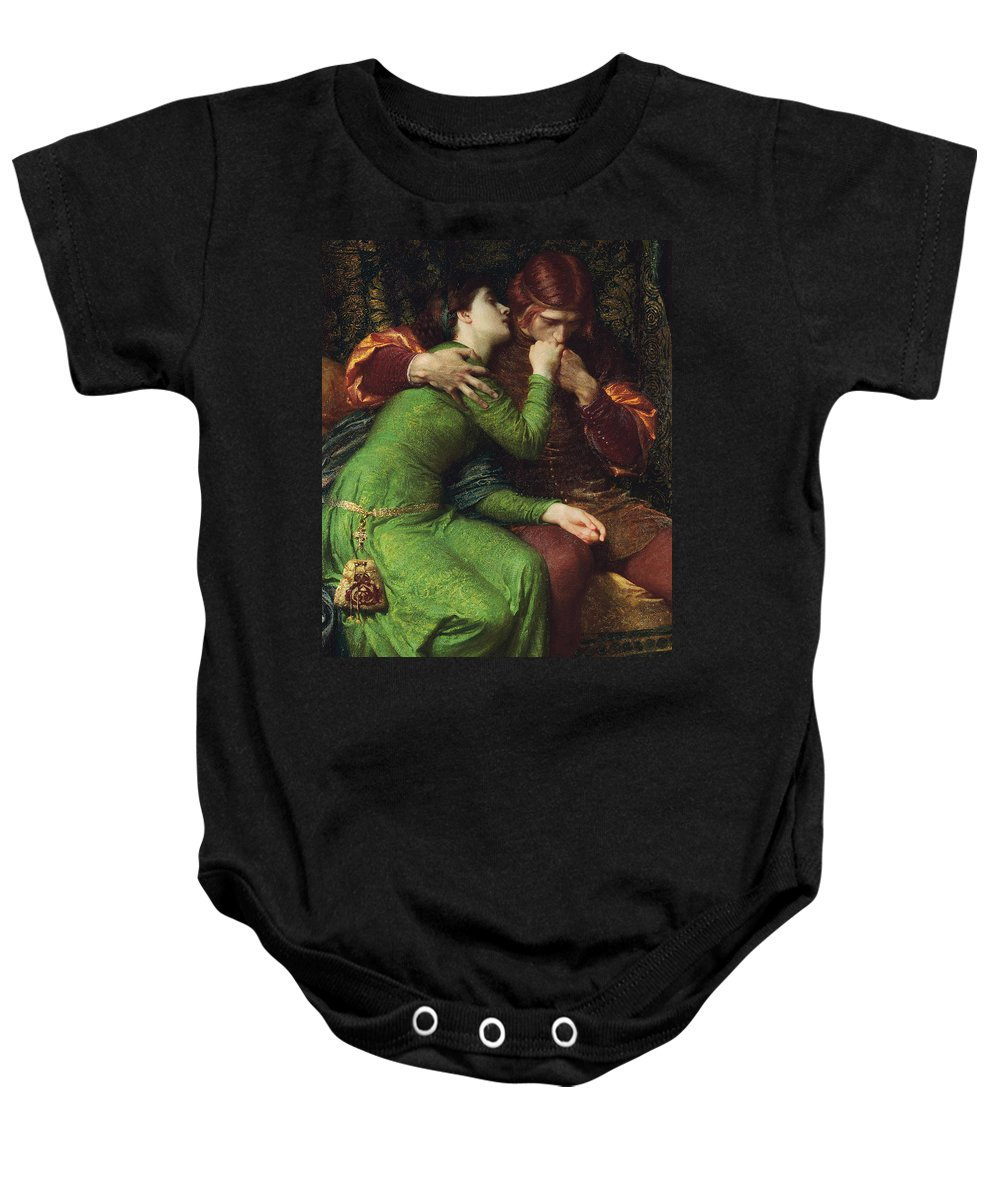 Dicksee Baby Onesie featuring the painting Paolo And Francesca by Sir Frank Dicksee