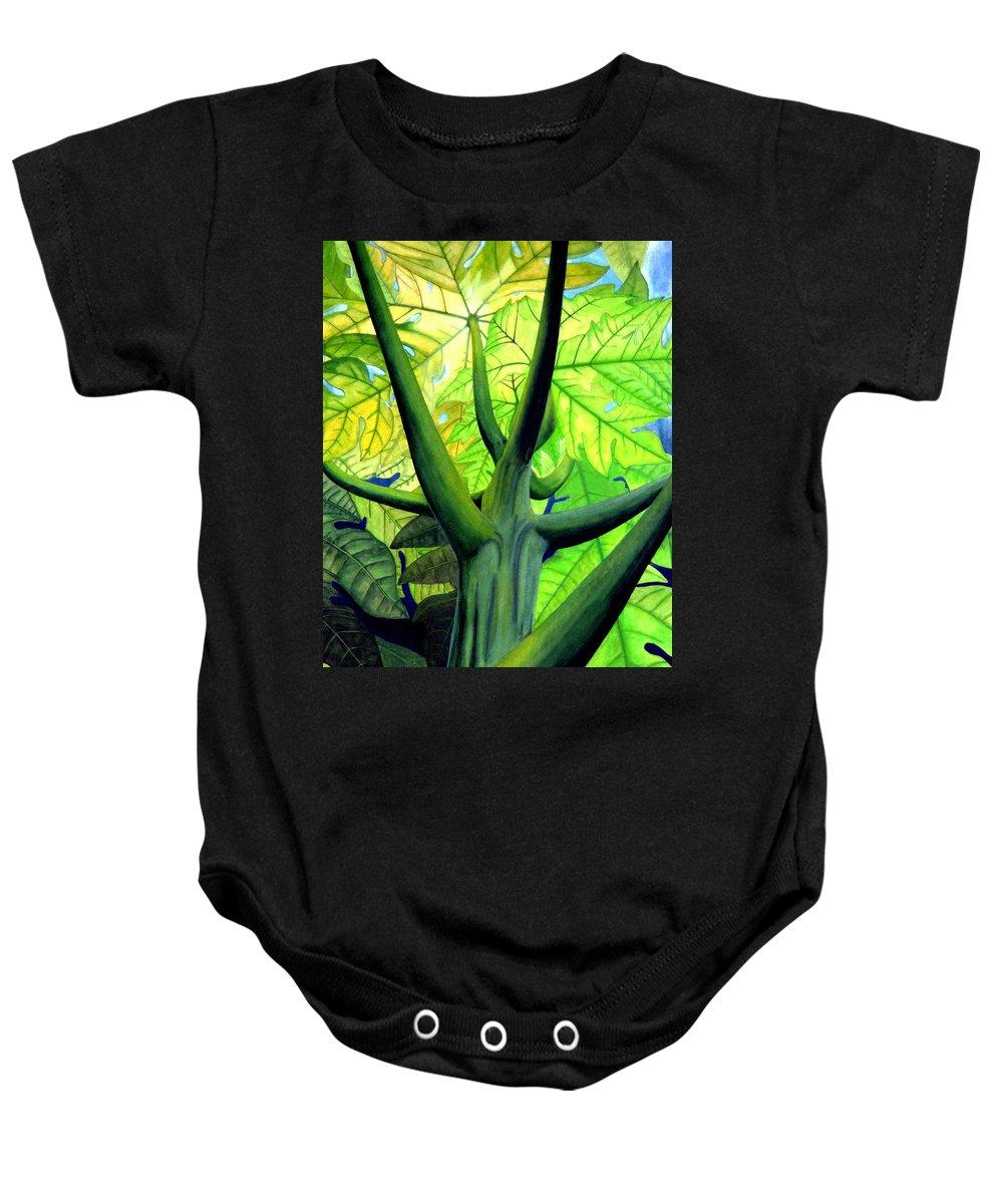 Papaya Tree Baby Onesie featuring the painting Papaya Tree by Kevin Smith