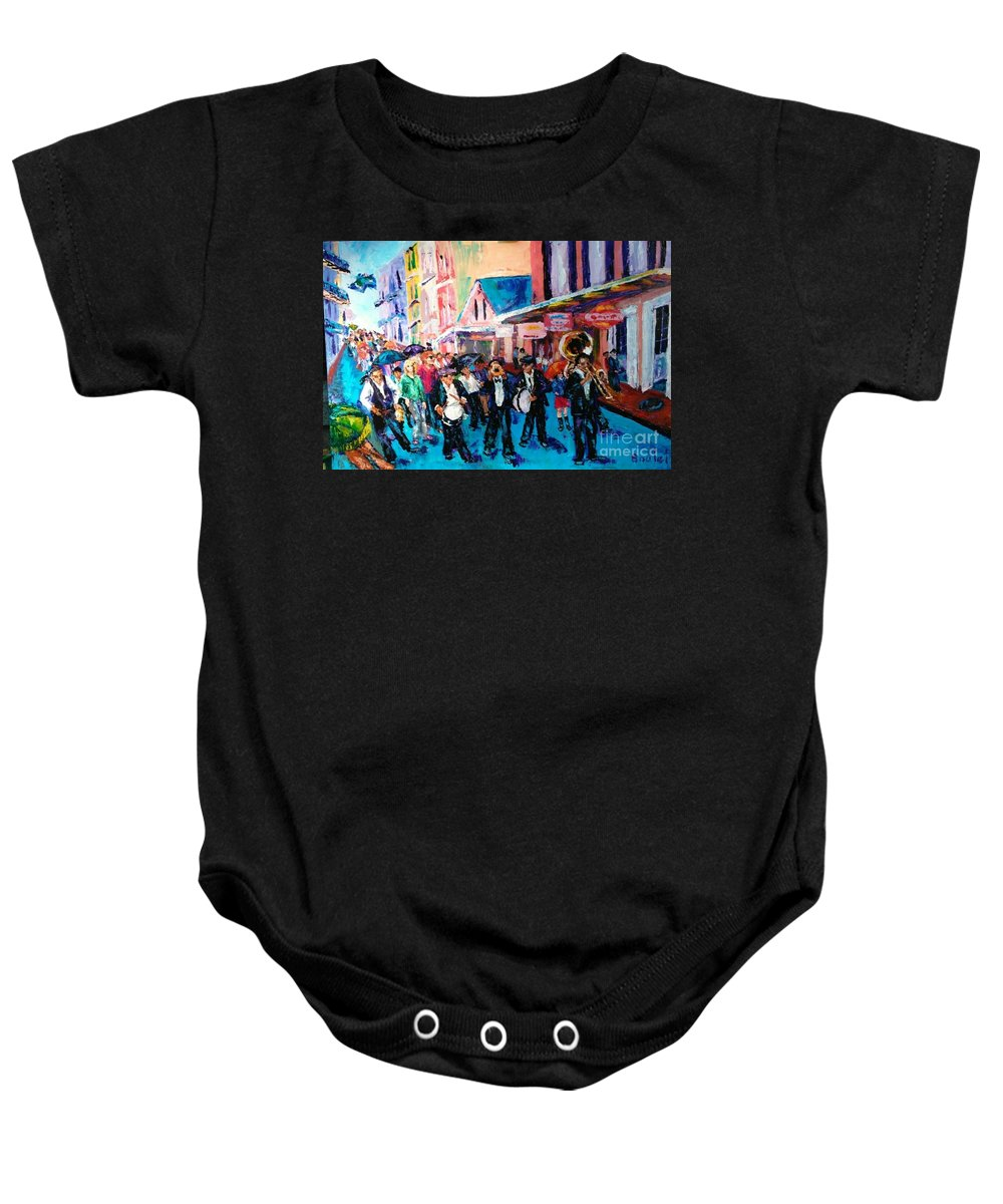 New Orleans Baby Onesie featuring the painting Parade For Joe by Beverly Boulet