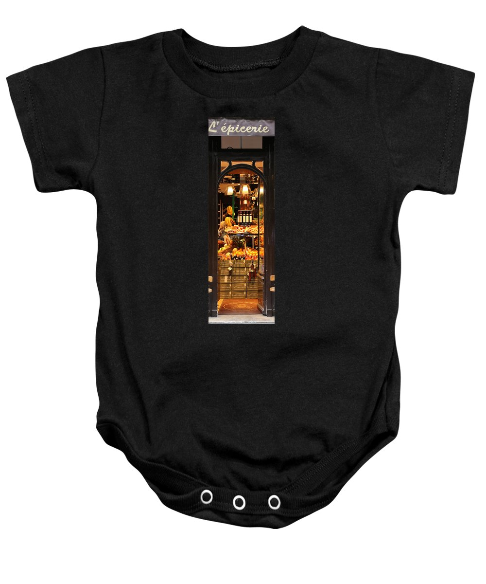 Paris Baby Onesie featuring the photograph Paris Grocery Store by Andrew Fare