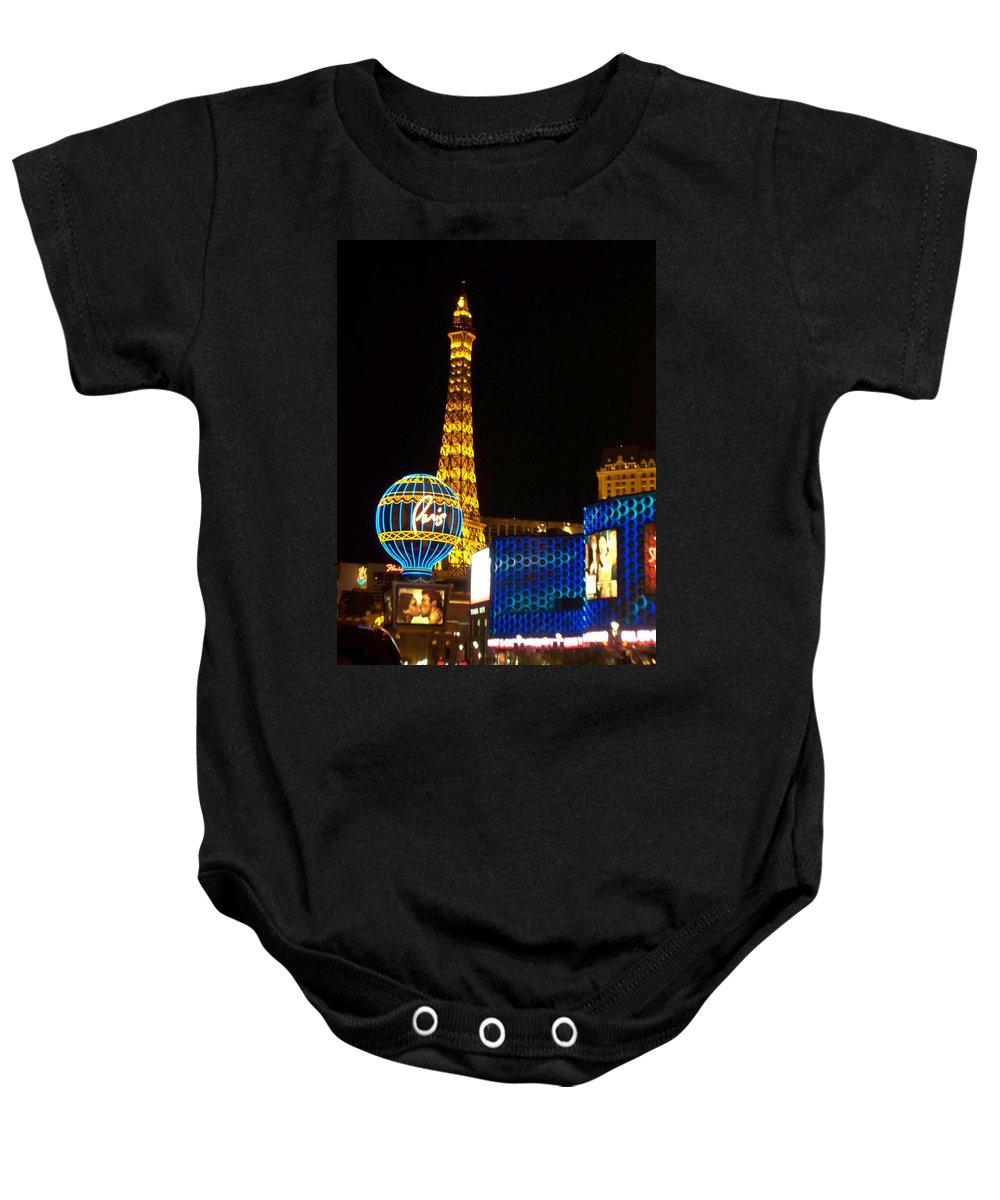 Vegas Baby Onesie featuring the photograph Paris Hotel At Night by Anita Burgermeister
