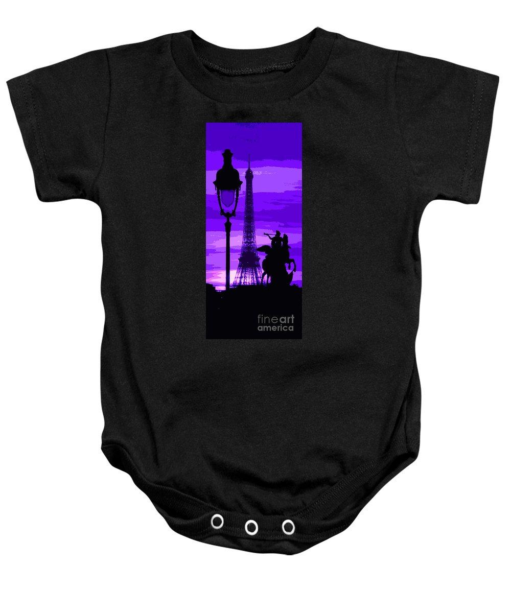 Paris Baby Onesie featuring the photograph Paris Tour Eiffel Violet by Yuriy Shevchuk